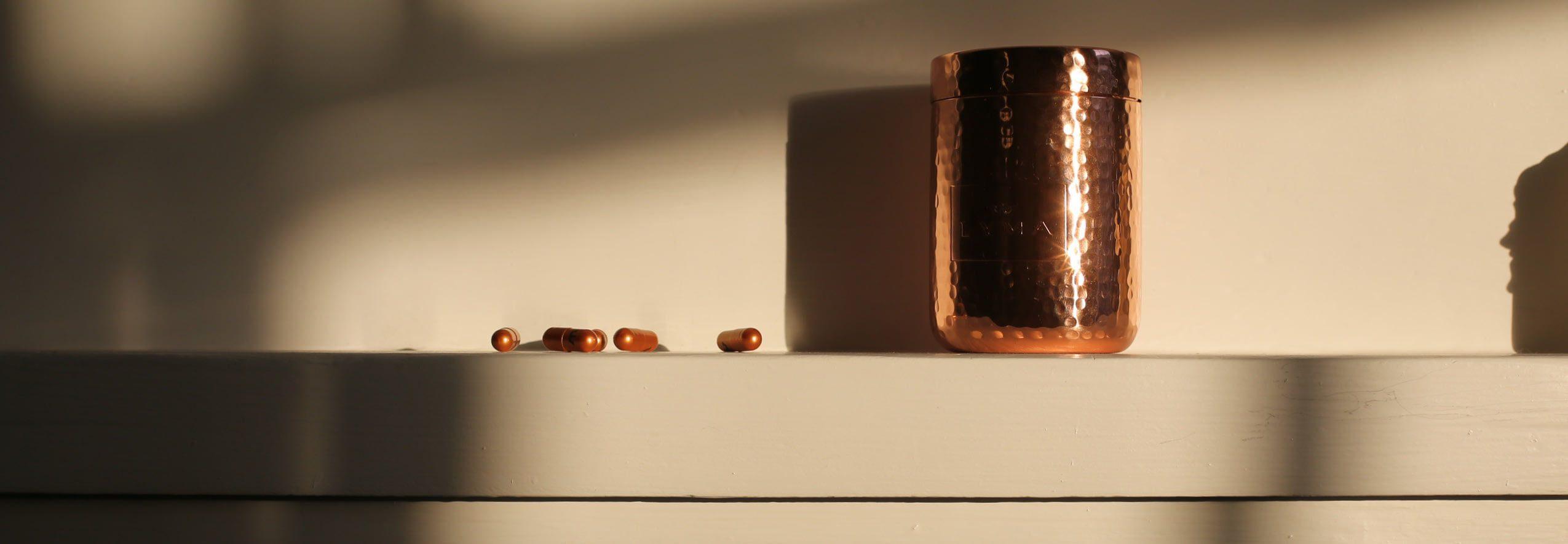 capsules on shelf