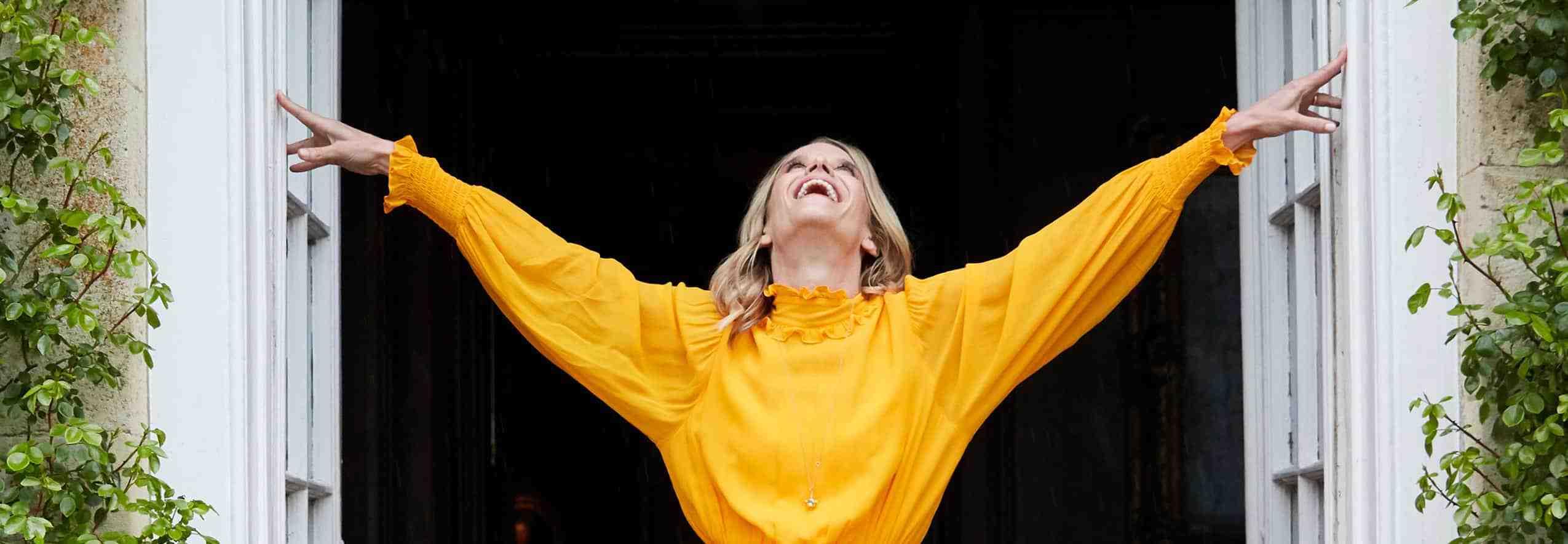 Happy Julie in yellow top